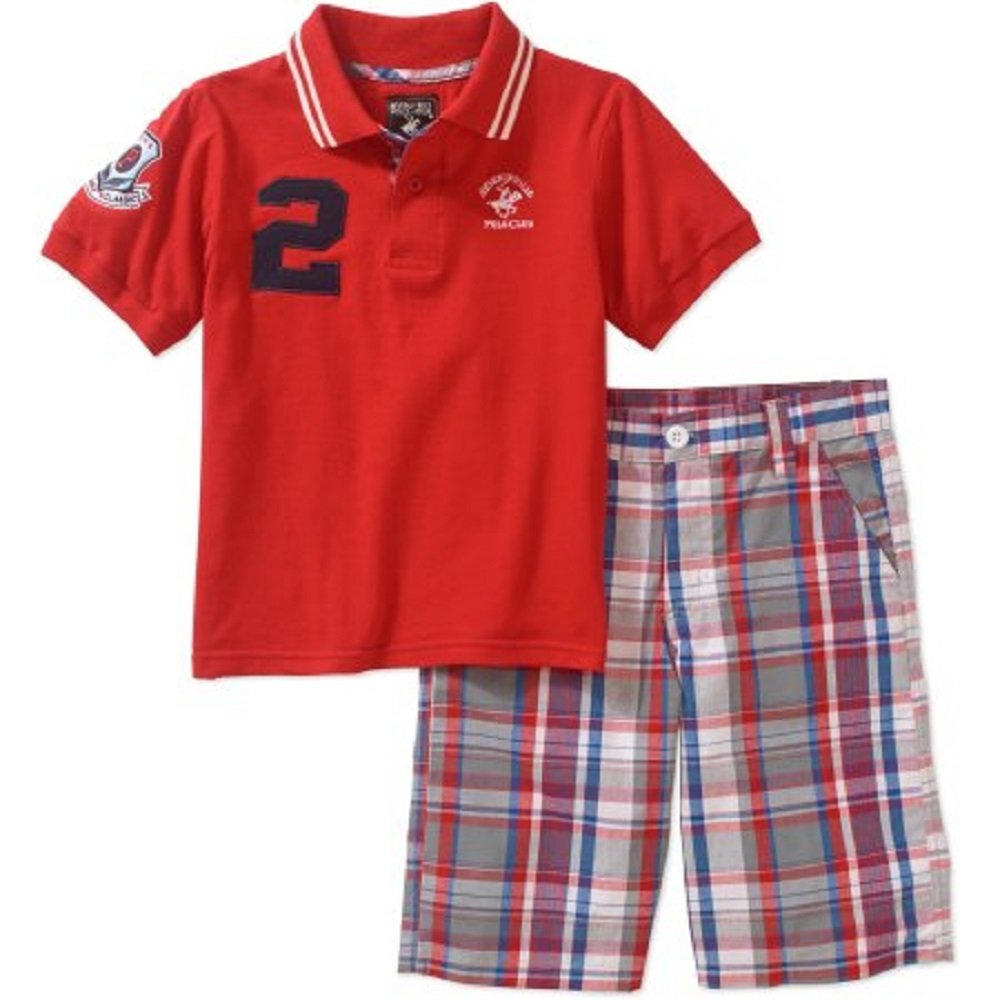 Beverly Hills Polo Club Toddker Boys Polo /& Shorts Set Size 3T Red