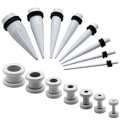 1 Set Expansor Túnel Tunnel Plug Piercing y 1 Set Dilatador Taper Piercing Oreja Blanco 1,6-10 mm: Amazon.es: Joyería