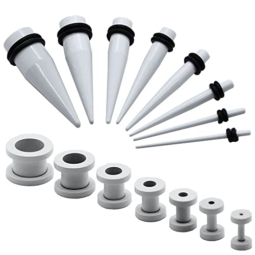 1 Set Expansor Túnel Tunnel Plug Piercing y 1 Set Dilatador Taper Piercing Oreja Blanco 1,6-10 mm: Amazon.es: Joyería