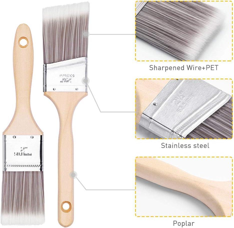 Home Improvement Trim Edging Wood Handle House Paint Brush Premium Wall Brush Set Sash Paint Brush for Cabinet Sash Trim Paint Brush Emitever Paint Brushes Set-5 Piece