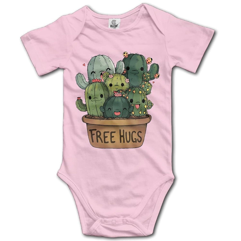 f556da5ca Jaylon Baby Climbing Clothes Romper Cactus Free Hugs Infant Playsuit  Bodysuit Creeper Onesies Pink