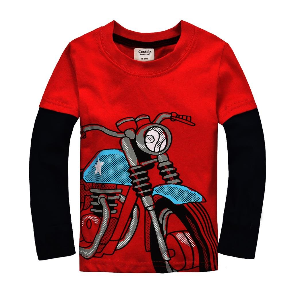 Coralup Little Boys Cotton Long Sleeve T-Shirts (Motorcycle,18 Months-7 Years)