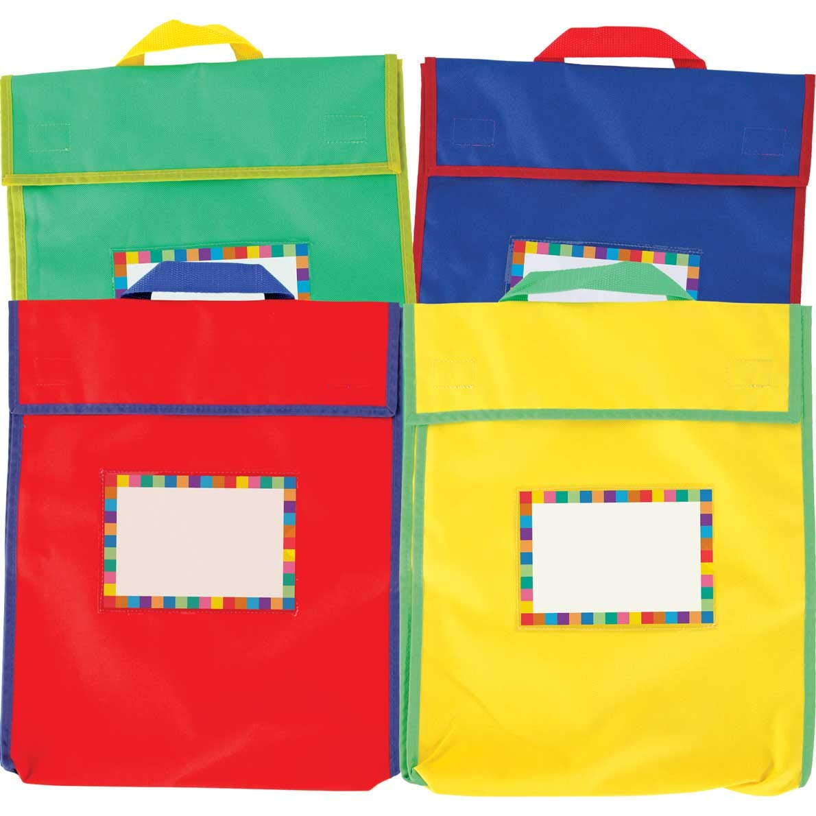 Really Good Stuff Store More Large Book Pouches and Labels Primary Colors Set of 12