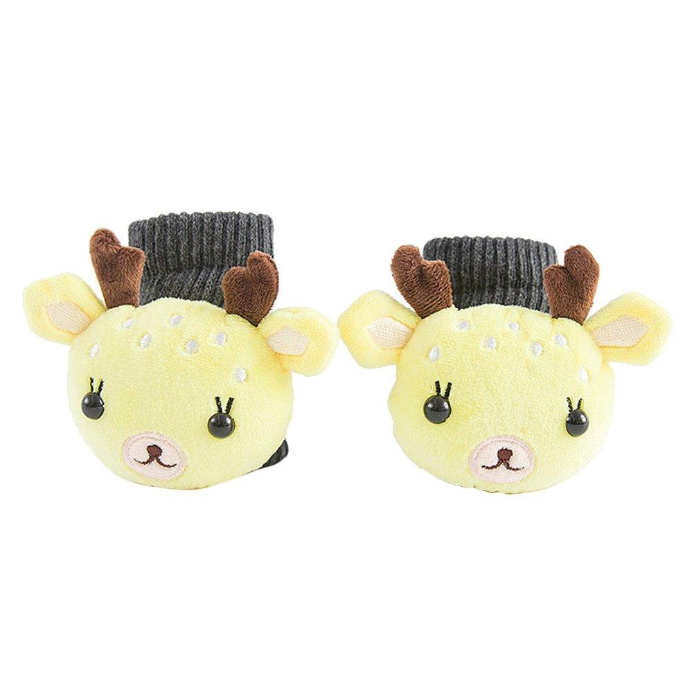 BESTOYARD Baby Rattle Socks Boys Girls Cotton Socks Plush Animal Toy (Fawn)