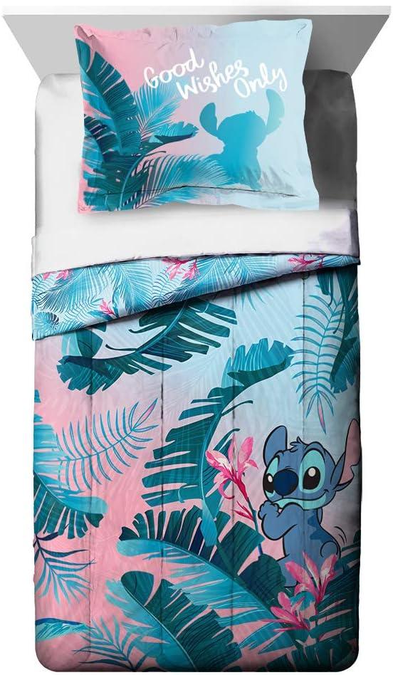 Jay Franco Disney Lilo & Stitch Floral Fun Full/QueenComforter & Sham Set - Super Soft Kids Reversible Bedding - Fade Resistant Microfiber (Official Disney Product)
