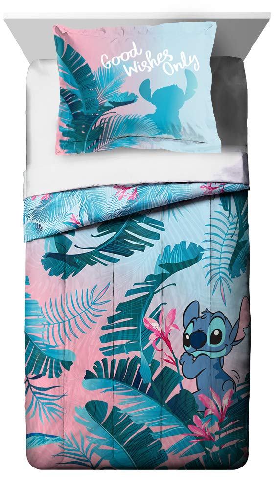 Jay Franco Disney Lilo & Stitch Floral Fun Twin Comforter & Sham Set - Super Soft Kids Reversible Bedding - Fade Resistant Microfiber (Official Disney Product) by Jay Franco