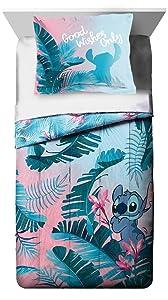 Jay Franco Disney Lilo & Stitch Floral Fun Twin Comforter & Sham Set - Super Soft Kids Reversible Bedding - Fade Resistant Microfiber (Official Disney Product)