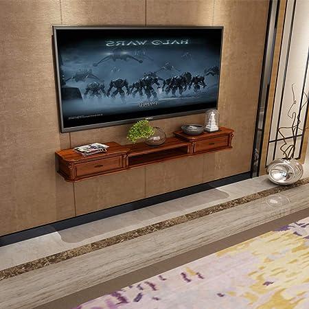 XINGPING-Shelf Gabinete de TV para Colgar en la Pared de Madera Maciza, Set-Top Box de TV, Mueble pequeño, partición de apartamento, gabinete para Colgar (Color : Sea Color, Tamaño : 120cm): Amazon.es: