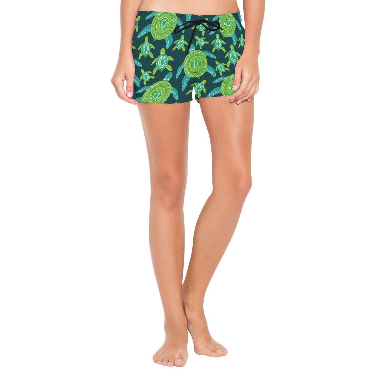 CENHOME Women Swim Trunks Watercolor Green Sea Turtles Pattern Beach Board Shorts