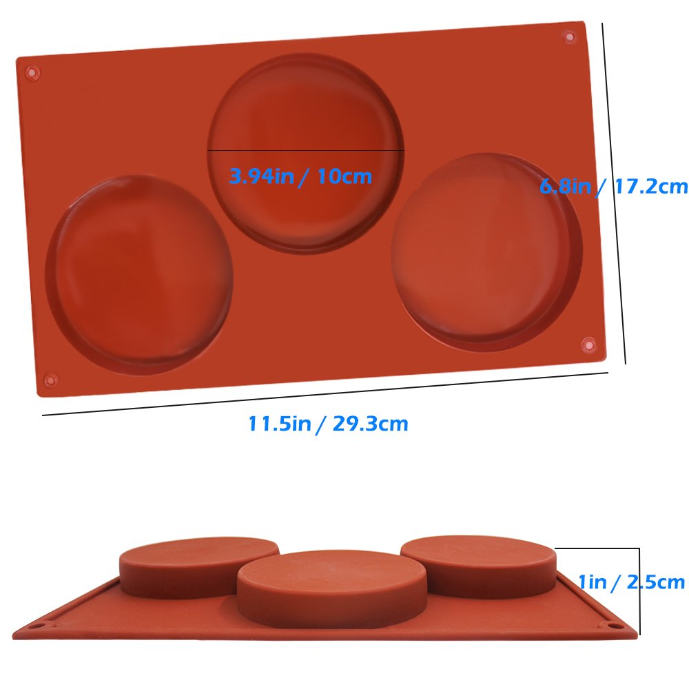 SourceTon 3-Cavity Large Round Silicone Disc Cake Mold, 3 PCS Pack of Non-Stick Baking Molds for Cake, Candy, Soap by SourceTon (Image #7)
