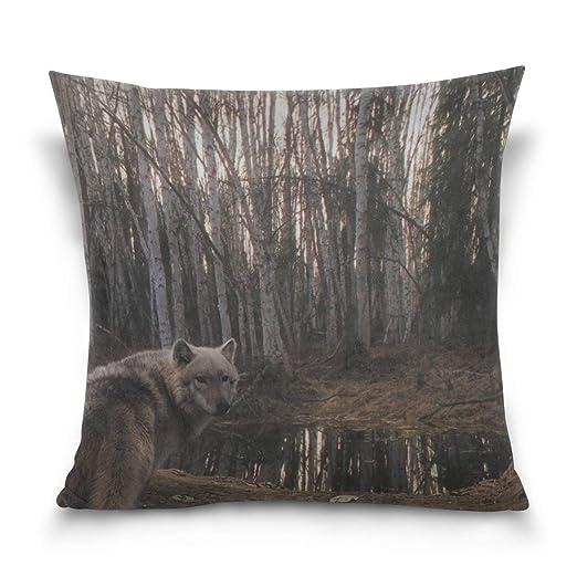 Hectwya Funda de Almohada Wolf Forest Trees Rain Sofa Bed ...