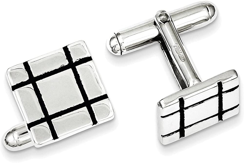 Lex /& Lu Sterling Silver and Black Enamel Grooved Design Square Cuff Links