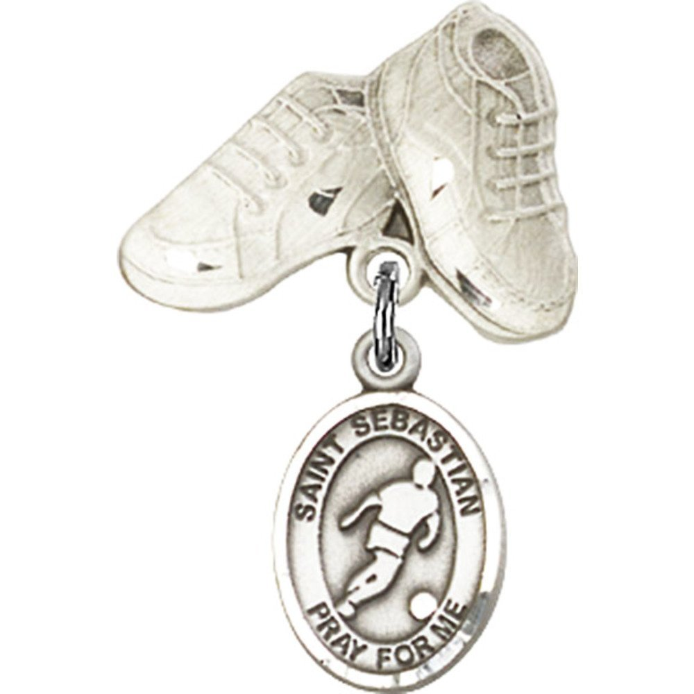 Sterling Silver Baby Badge with St. Sebastian/Soccer Charm and Baby Boots Pin 1 X 5/8 inches Bliss Manufacturing 9164SS/5923SS