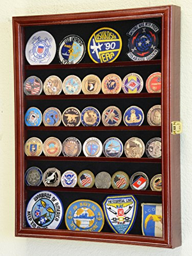 56 Challenge Coin Display Case Cabinet – Fully Adjustable Shelves – Larger Coins – 98 UV Protection Cherry Finish