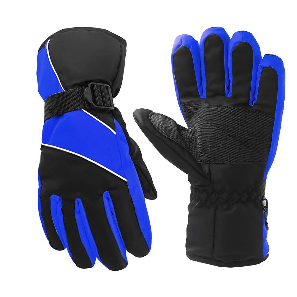 AIRGINE Outdoor-Sport Winterhandschuhe warme Handschuhe mit wasserdicht und schneesicher zum Skifahren Radfahren (Blau)