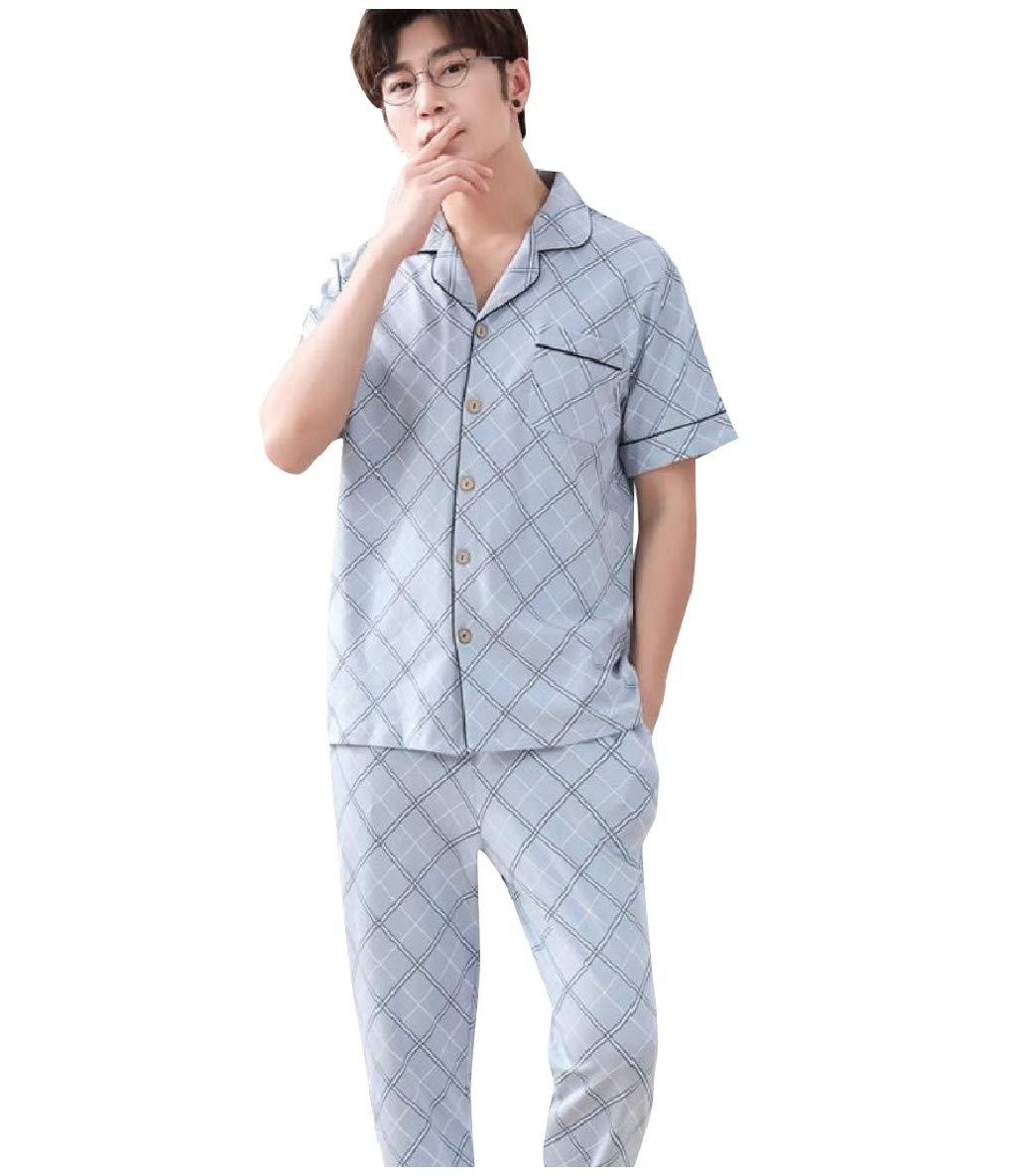 Vska Men Classic Plaid Fine Cotton 2 Piece Set Sleepwear Pants Sets Grey L