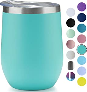 MUCHENG 12 Ounce Stemless Wine Glass Tumbler with LidStainless Steel Double Wall Vacuum Insulated Travel Cup (1-Pack, Blue green)