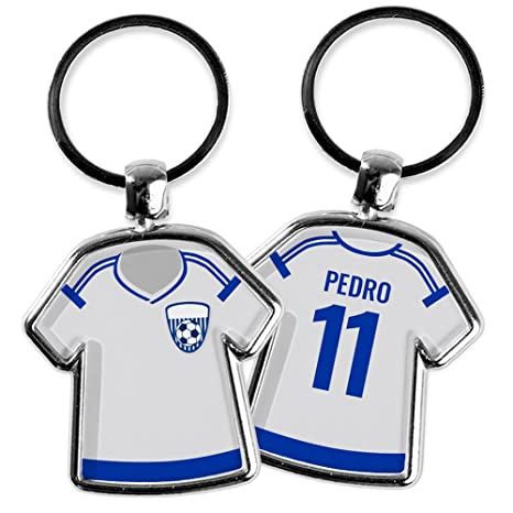 Llavero Camiseta Fútbol Personalizado con Nombre/Dorsal | Regalo Original.Varios | Llaveros Personalizados a 2 Caras | Varios Modelos Disponibles | ...