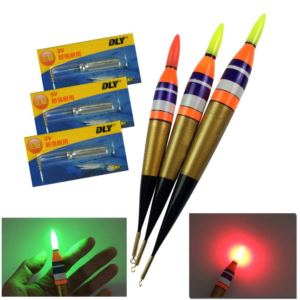 QualyQualy LED Electronic Fishing Float Saltwater Sea Rock Fishing Floats 3.7g 7.5g 11.3g Luminous Fishing Buoys Balsa Wood Lighting Bobbers 3Pcs//Lot