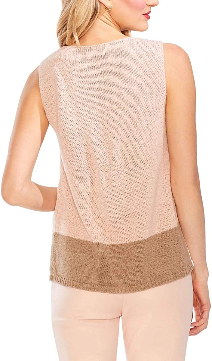 Vince Camuto Womens Oasis Bloom Crossover Colorblock Tank Top Sweater