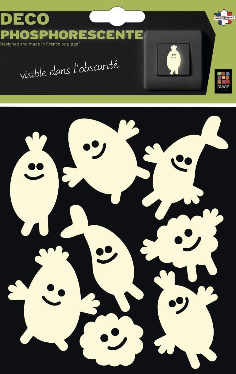 Plage 156022Glow in The Dark Stickers?Monsters [1Sheet 15x 17cm], Vinilo, White, 17x 0.1X 15Cm