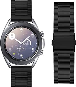 VICARA band Compatible with Galaxy Watch 3 41mm /Galaxy Watch 42mm/Galaxy Watch Active 2 44/40mm/Active 40mm Band, Solid Stainless Steel Metal 20mm Business Replacement Bracelet Strap with double button butterfly clasp (Black)