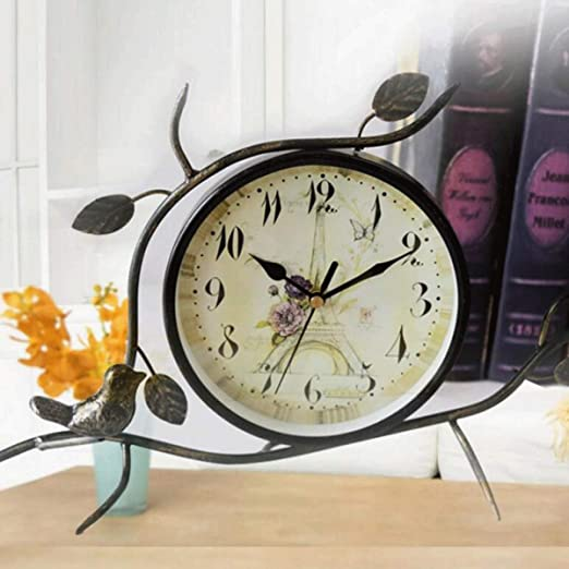 JJSPP Reloj de Escritorio Estatuilla de Metal Vintage Artesanal ...