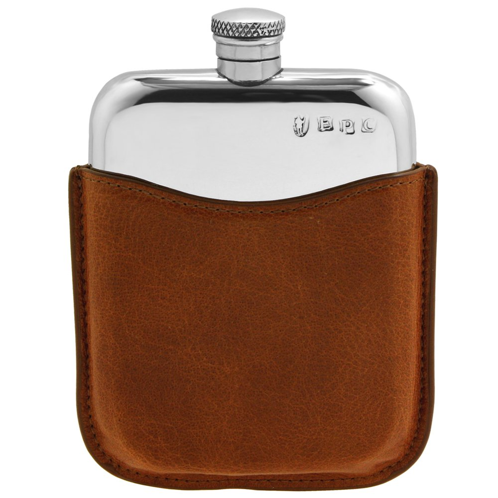 English Pewter Company 6oz Pewter Liquor Hip Flask with Luxury Brown Leather Pouch [PLF01]
