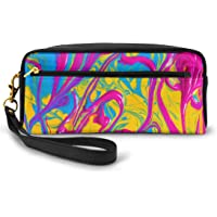 AHOOCUSTOM Flower Watercolor Glitter Makeup Bag Pouch for Teen Girls, Elegant Toiletry Cosmetic Bags for Women…