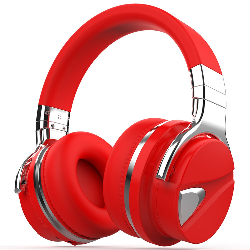 COWIN E7 Active Noise Cancelling Bluetooth Headphones with Microphone Deep Bass Wireless Headphones Over Ear, Comfortable Protein Earpads, 30H Playtime for Travel Work TV Computer IPhone - Red-2