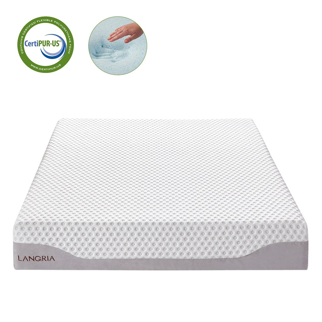 LANGRIA 10-Inch Cool Gel-Infused Memory Foam Mattress - Soft Skin-Friendly Breathable Cover - Comfortable Solid Mid-