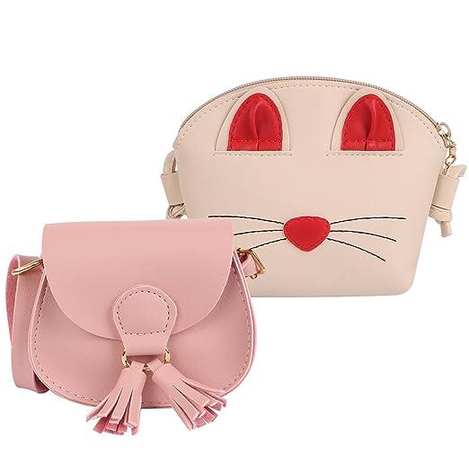 e7e516ce8018 Amazon.com  kilofly 2pc Little Girls Cute Cat Handbag Shoulder Bag  Crossbody Purse Combo Set  Clothing