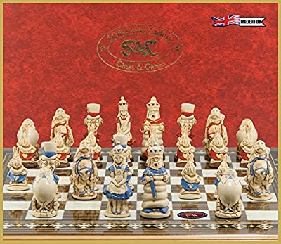 Alice in Wonderland Chess Set - Handmade and Hand Painted - 3.5 Inches