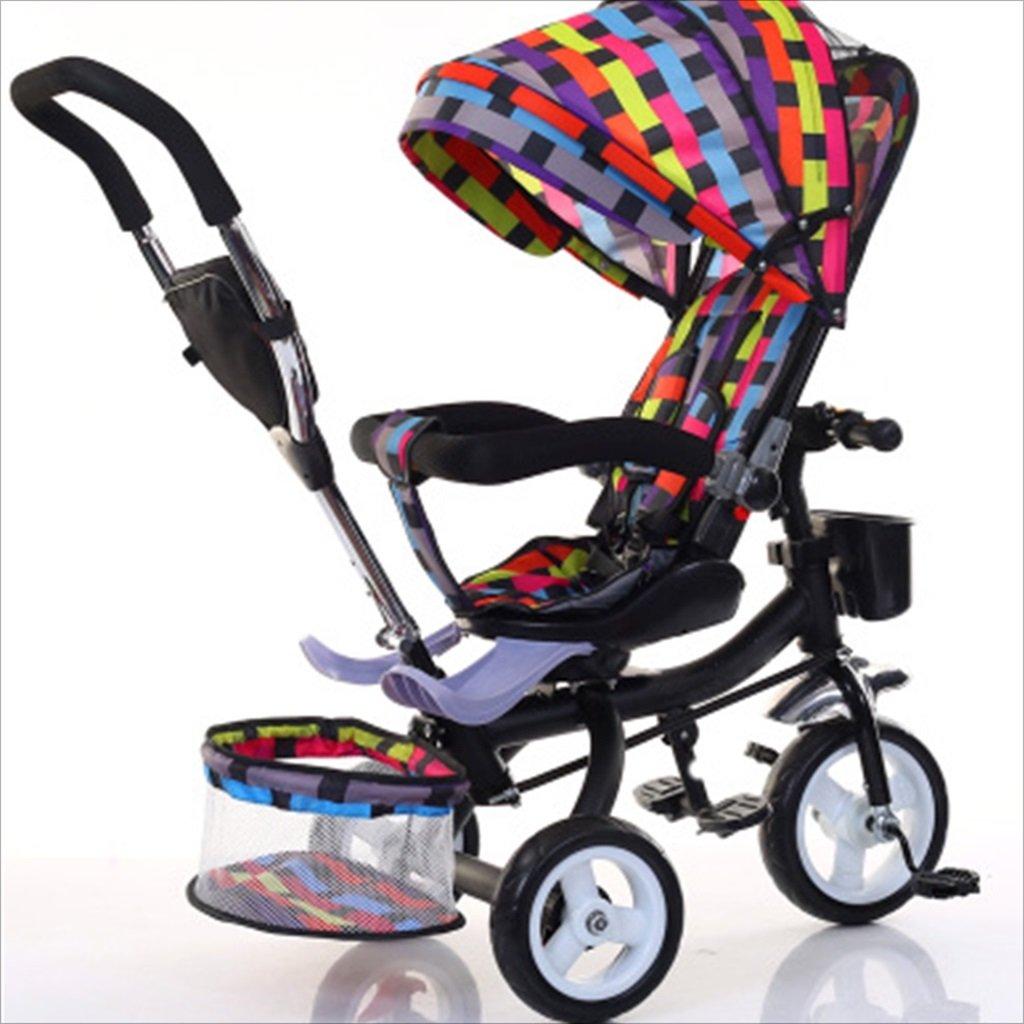 子供の屋内屋外の小さな三輪車自転車の男の子の自転車の自転車6ヶ月-5歳の赤ちゃんの3つのホイールトロリー、ダンピング/回転シート/発泡ホイール (色 : 4) B07DVHV6K6 4 4