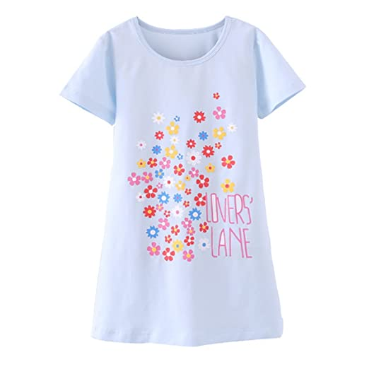 300566d0c9 DGAGA Little Girls Cute Cotton Floral Nightgown Sleepwear Pajamas Sleep  Dresses Blue 3-4 Years