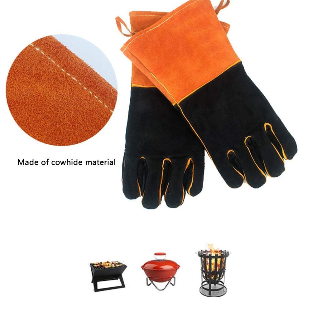 IRVING Outdoor BBQ gloves camping fire barbecue high temperature insulation thickening long welding protective gloves leather by IRVING (Image #6)