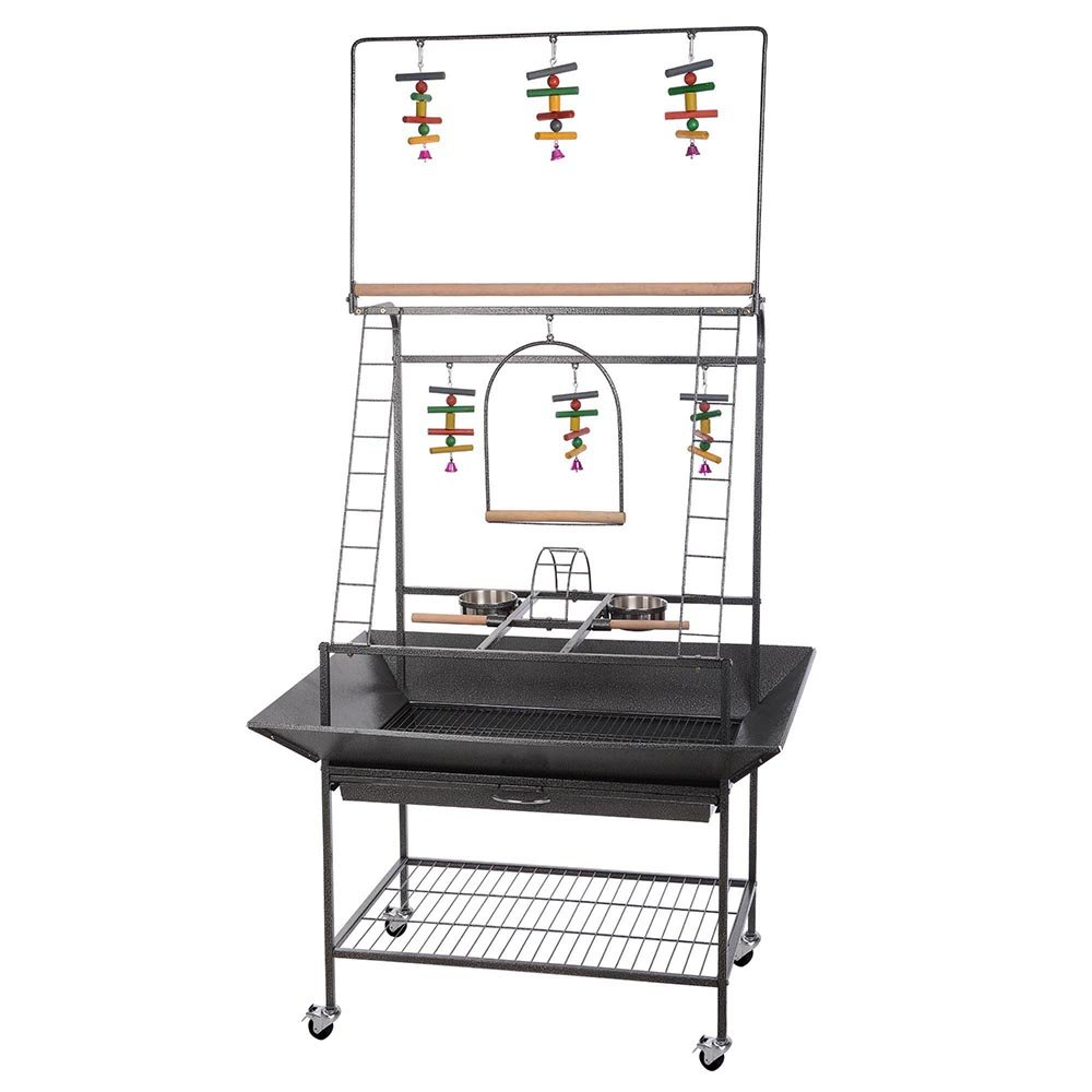 Yescom Pet Parrot Play Stand Bird Cage Gym Perch with Feeding Cups Overall 41'' L x 30'' W x 69'' H by Yescom