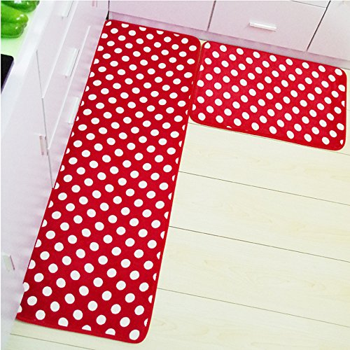 Kitchen Rug - Kitchen Rugs Memory Foam Non Skid Bottom Red With White Dot Kitchen Rugs Set 2 Pieces