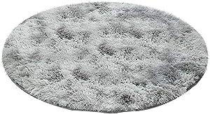 Fluffy Colorful Shag Round Area Rug Plush Carpet for Kids Girls Living Room Bedroom Decor Multicolor Area Rug (E l e g a n t · G r e y, 1.61.6 m)