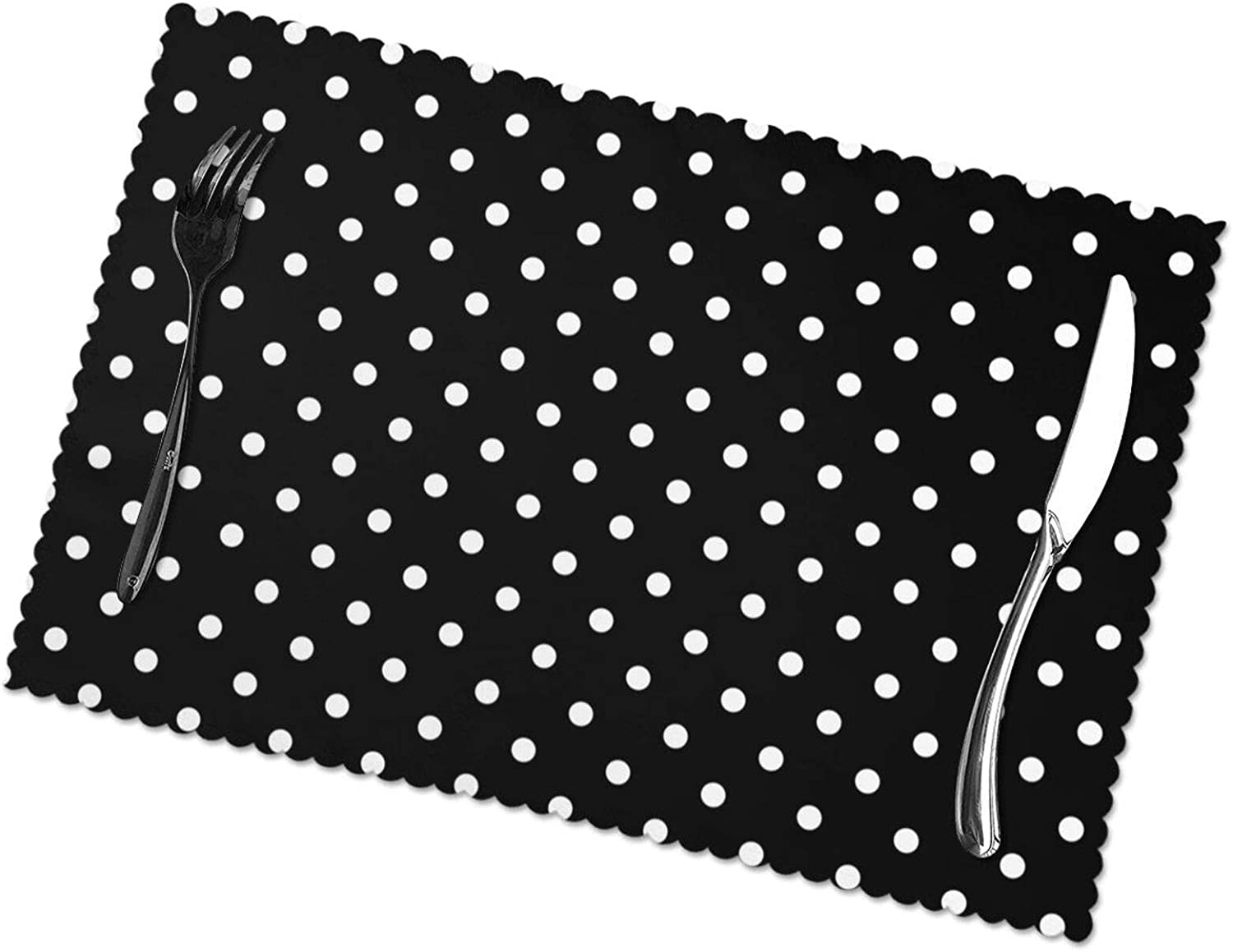 Bargburm Black and White Polka Dot Set of 6 Placemats for Dining Table, Snack Drink Heat Insulation Stain Resistant Anti-Skid Washable Table Mats for Dining Kitchen Restaurant Table, 12 X 18 Inch