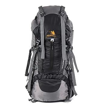 Issyzone Hiking Backpack Trekking Rucksacks Waterproof Hiking  Mountaineering Camping Internal Frame Pack with Rain Cover c4bcda0874895