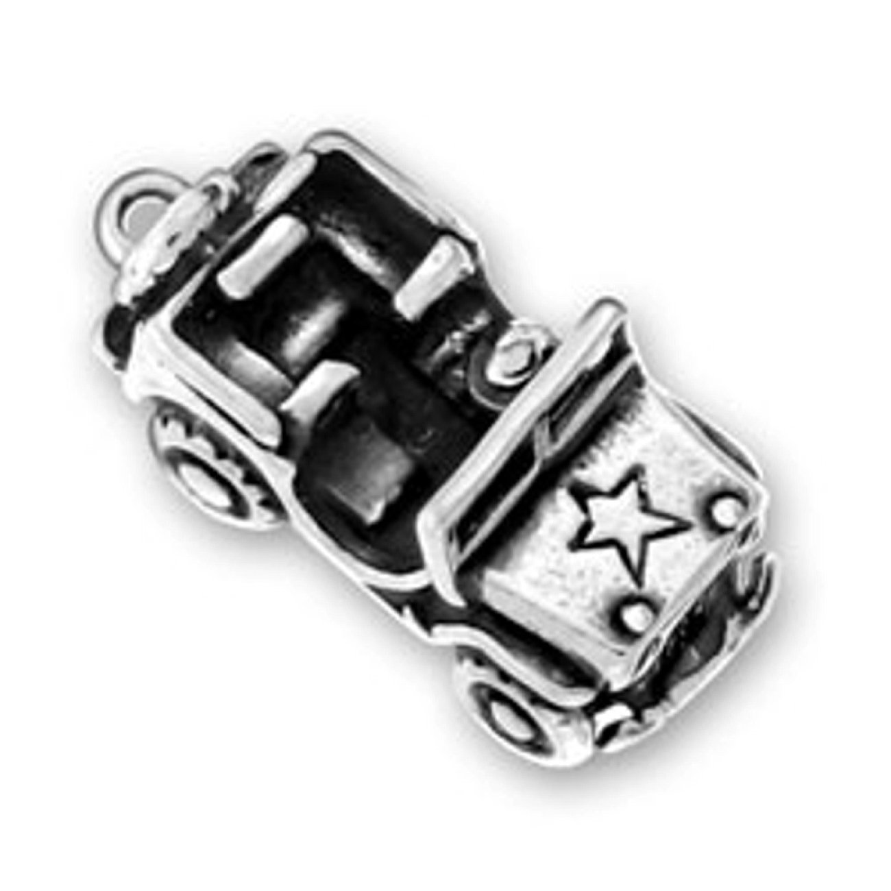 Sterling Silver Girls .8mm 3D 4 Wheel Drive Military Army Jeep No Top And Star Pendant Necklace
