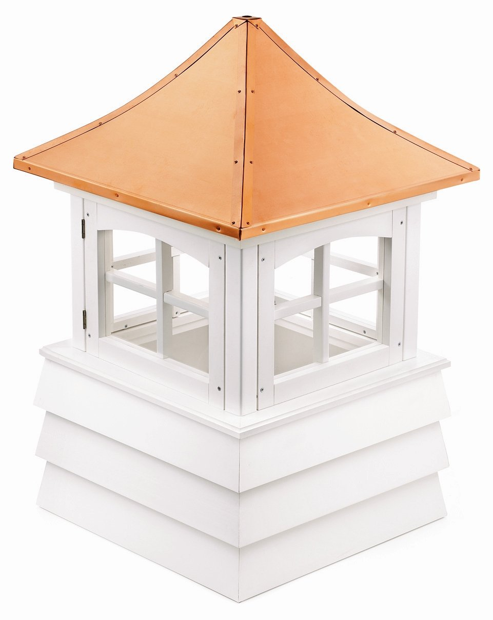 Good Directions 2122GV Guilford Window Cupola with Pagoda Style Copper Roof and Vinyl Shiplap Base, 22'' Square x 32'' High by Good Directions