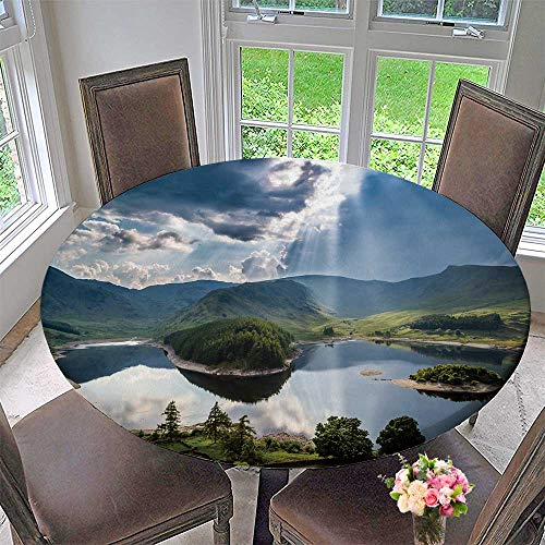 PINAFORE HOME Round Premium Table Cloth Sun Rays Burst Through Storm Clouds The Lake District Cumbria England Perfect for Indoor, Outdoor 43.5