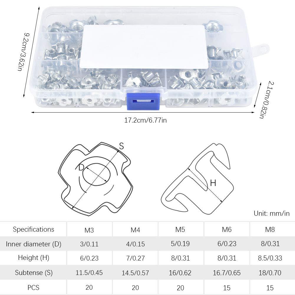 T Inserti Blindati Dado per Mobili di Legno M3 //M4 //M5 //M6 //M8 con Scatola di Plastica 120Pz Cizen Dadi a 4 Denti Dadi
