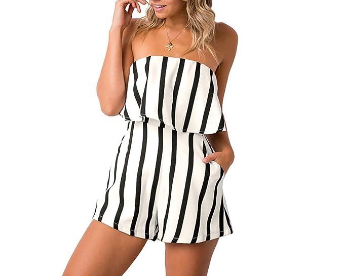 0cbfa7249ea6 2018 New hot Sizzling Explosions Tube top Striped Print Casual Siamese  Shorts