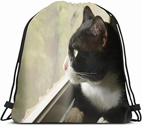 KAKALINQ Drawstring Backpack String Bag Pet Tuxedo Cat Looking Outside Window Free Animals Wildlife Interiors Animalia Black26white Carnivora Feline Sport Gym Sackpack Hiking Yoga Travel Beach: Amazon.es: Deportes y aire libre