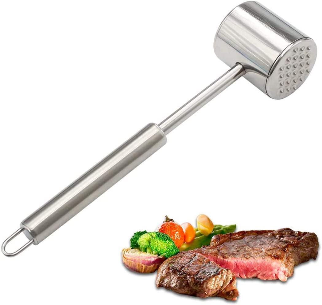 Meat Tenderizer Hammer, Mallet Tool, Pounder for Tenderizing Steak, Beef and Poultry. Stainless Steel Meat Tenderizer - Dishwasher Safe