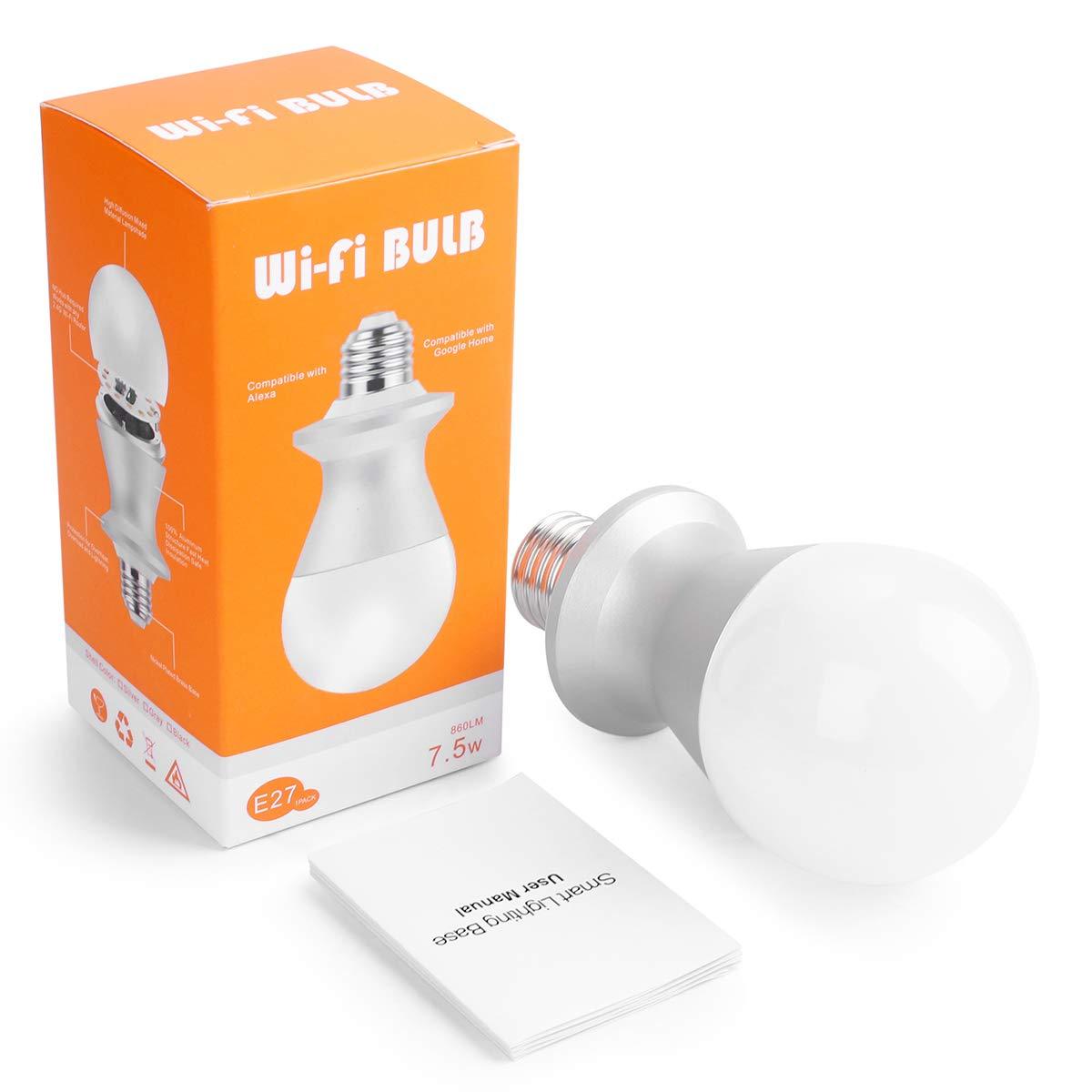Aicase Intelligent WLAN Home Remote Control Light Lamp Bulb Holder Works with ALEXA e Google Home-white Smart WiFi E27 Light socket Smart WiFi E27 Light socket 2 pezzi