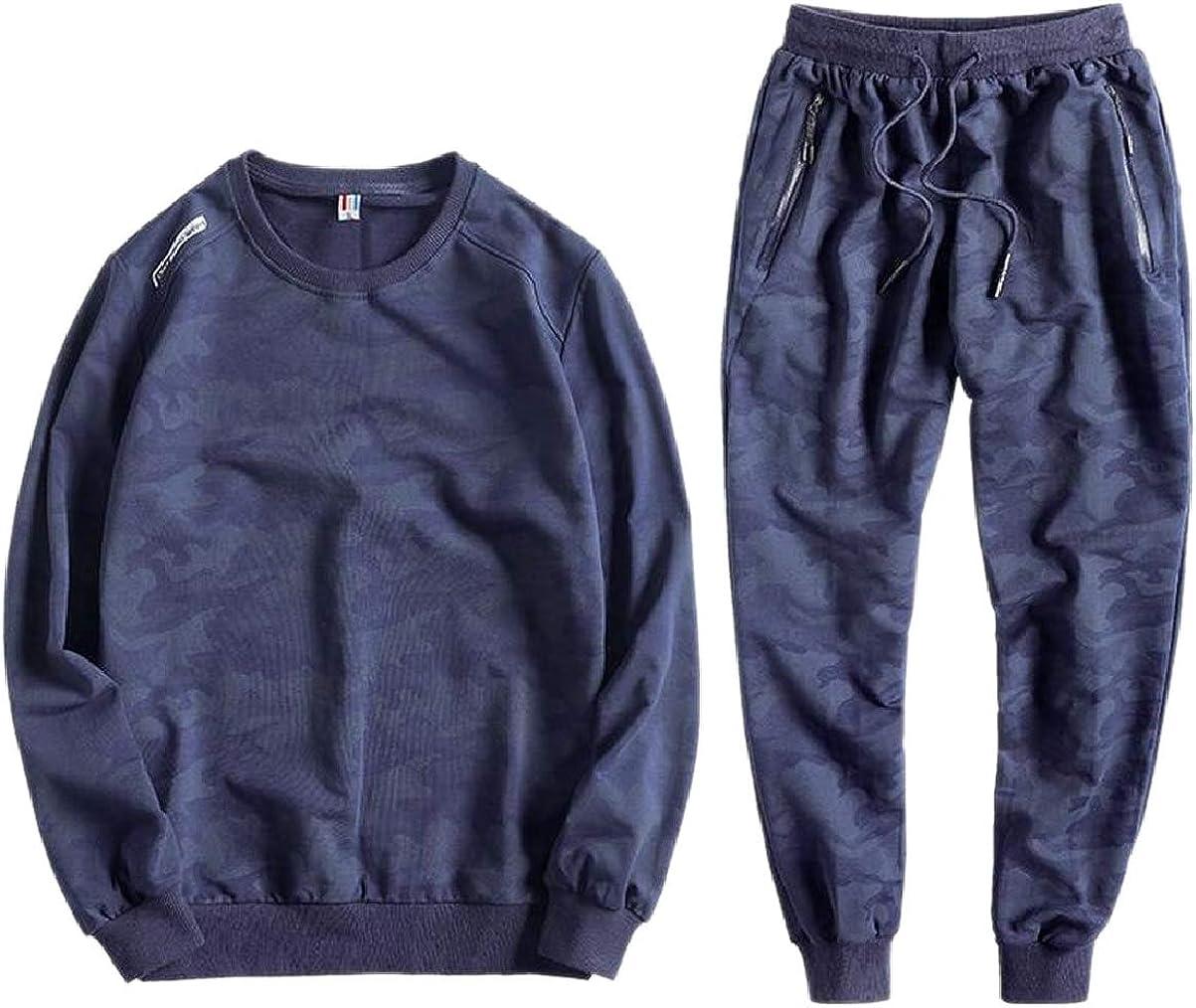 YIhujiuben Men Sweatsuit Elastic Waist Pants Big and Tall Sweatshirts Camouflage Printed Tracksuit Set Dark Blue XS